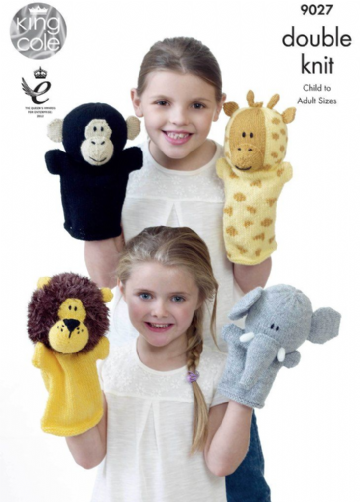 King Cole Animal Hand Puppets Knitting Pattern in DK, 9027
